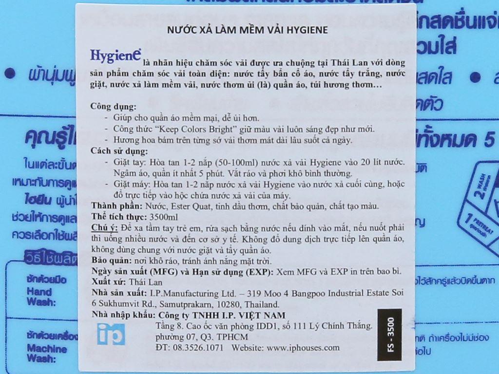 Nước xả cho bé Hygiene Ocean Blue can 3.5 lít 4