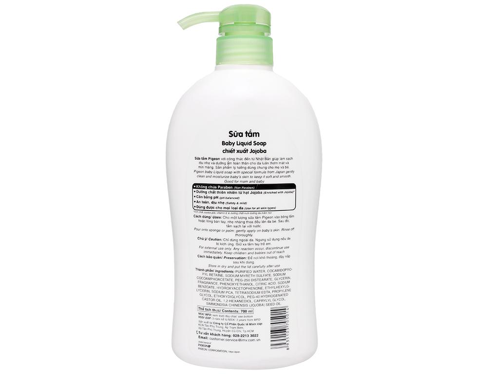 Sữa tắm cho bé Pigeon Liquid Soap chiết xuất Jojoba 700ml 6