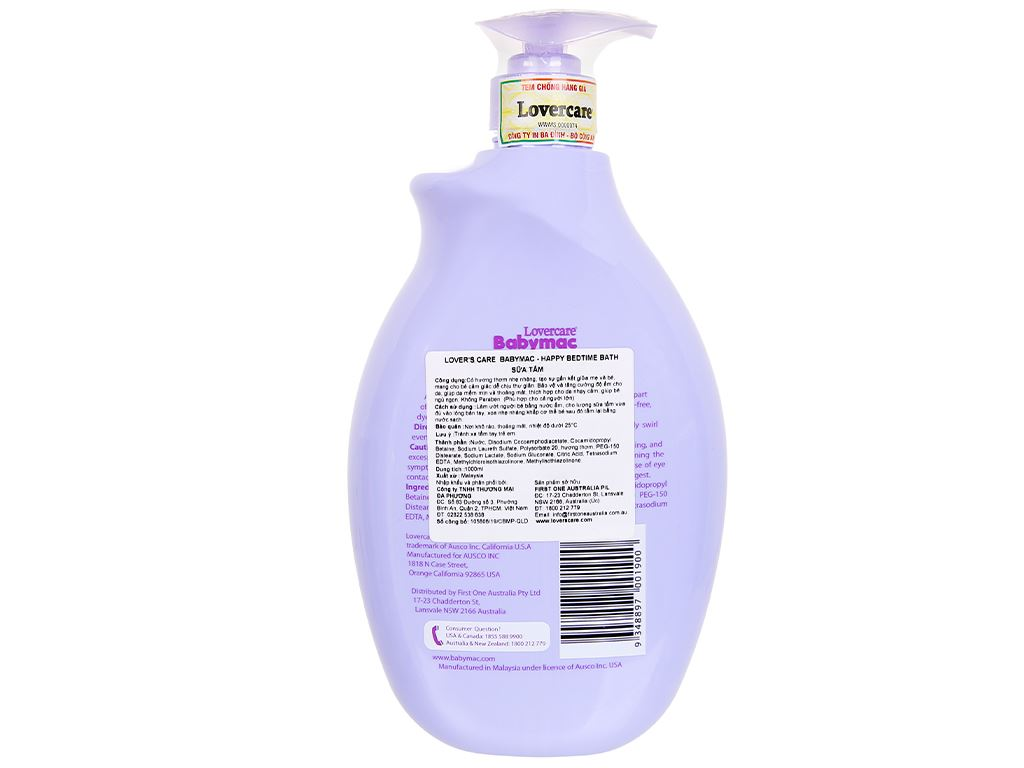 Sữa tắm cho bé Lovercare Babymac Happy Bedtime Bath 1lít 2