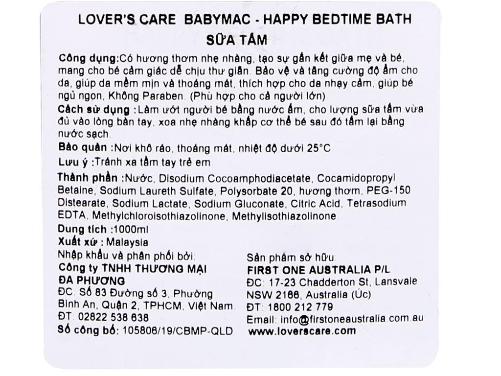 Sữa tắm cho bé Lovercare Babymac Happy Bedtime Bath 1lít 3