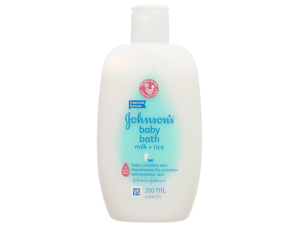Sữa tắm cho bé Johnson's chứa sữa và gạo 200ml 2