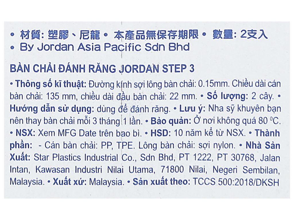 Bộ 2 bàn chải cho bé 6 - 9 tuổi Jordan Step 3 lông mềm (giao màu ngẫu nhiên) 5
