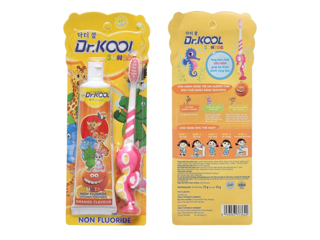 Combo bàn chải và kem đánh răng cho bé trên 8 tuổi Dr. Kool Junior lông siêu mềm hương cam 2