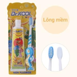 Combo bàn chải và kem đánh răng cho bé trên 6 tuổi Dr. Kool Junior lông mềm hương chuối (giao màu ngẫu nhiên)