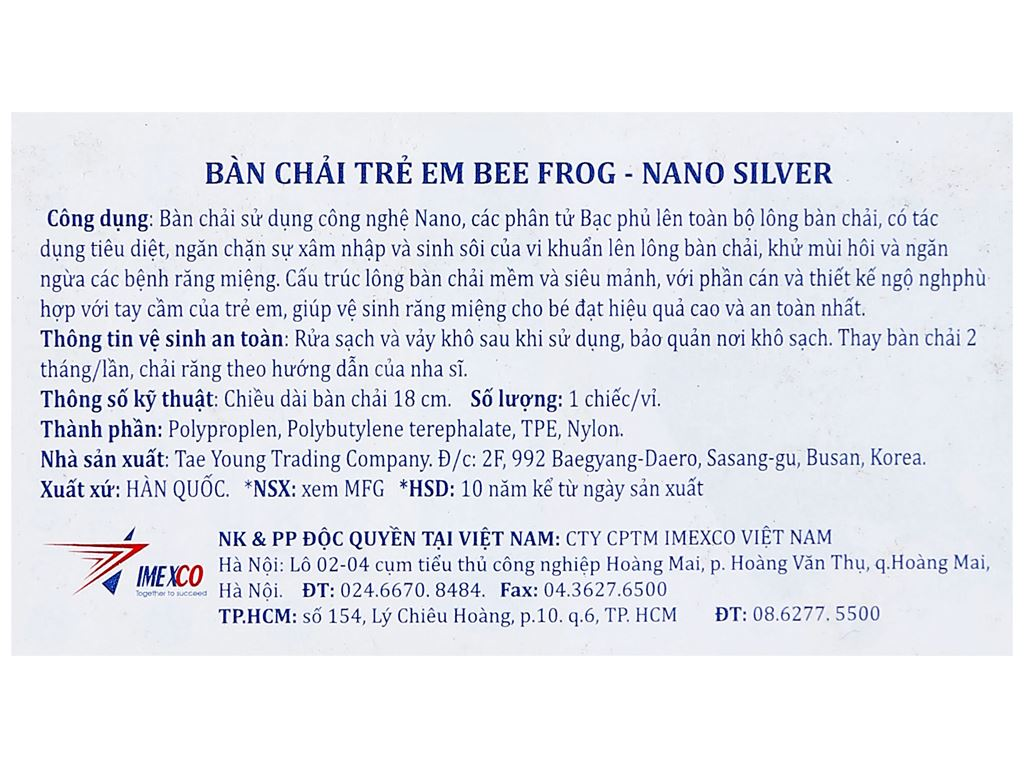 Bàn chải cho bé Bee Nano Silver lông mềm mảnh 5