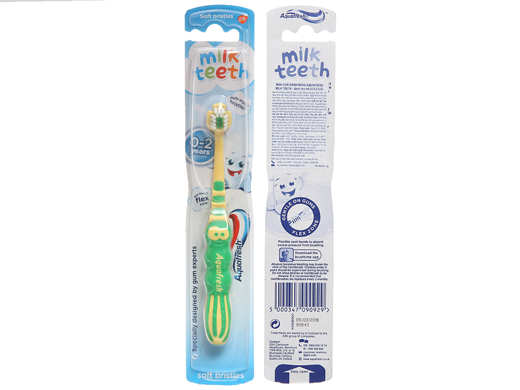 Bàn chải cho bé 0 - 2 tuổi AquaFresh lông mềm 2