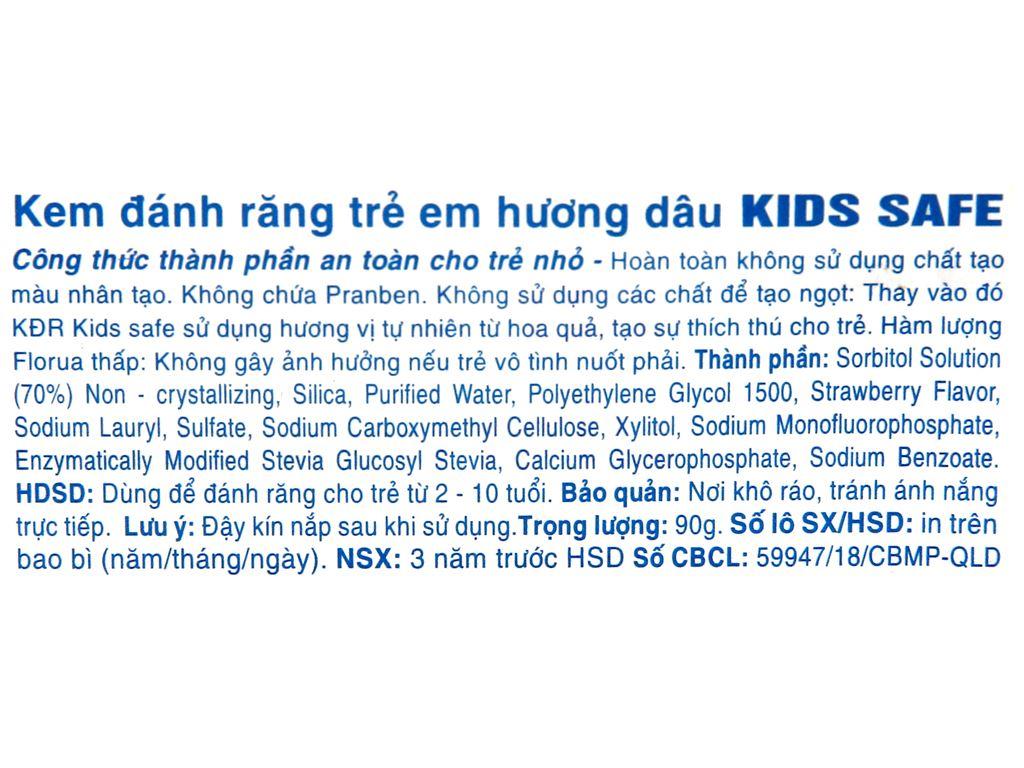 Kem đánh răng cho bé Kids Safe hương dâu 90g 5