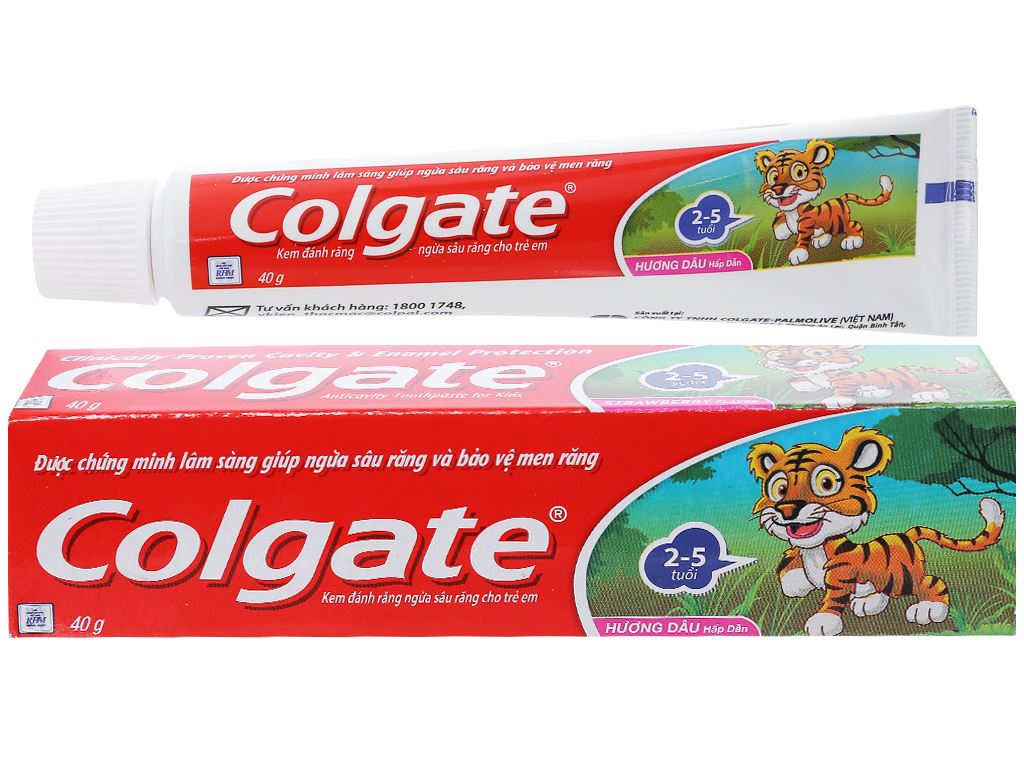 Kem đánh răng cho bé từ 2 - 5 tuổi Colgate Tiger hương dâu 40g 1