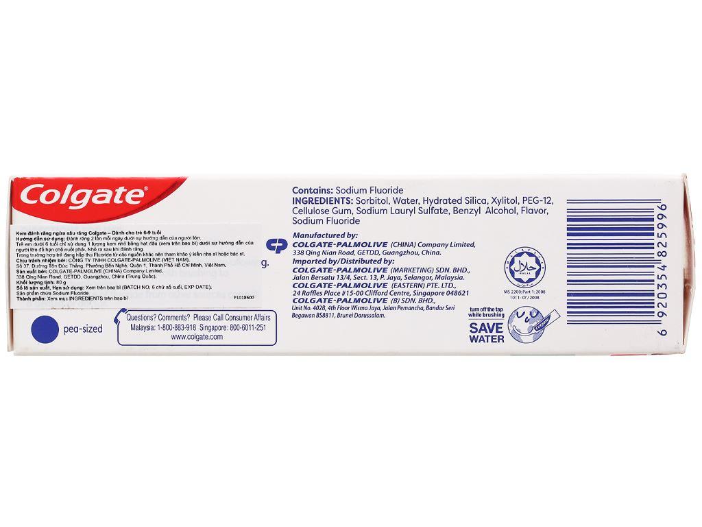 Kem đánh răng cho bé từ 6 - 9 tuổi Colgate hương dâu bạc hà 80g 4