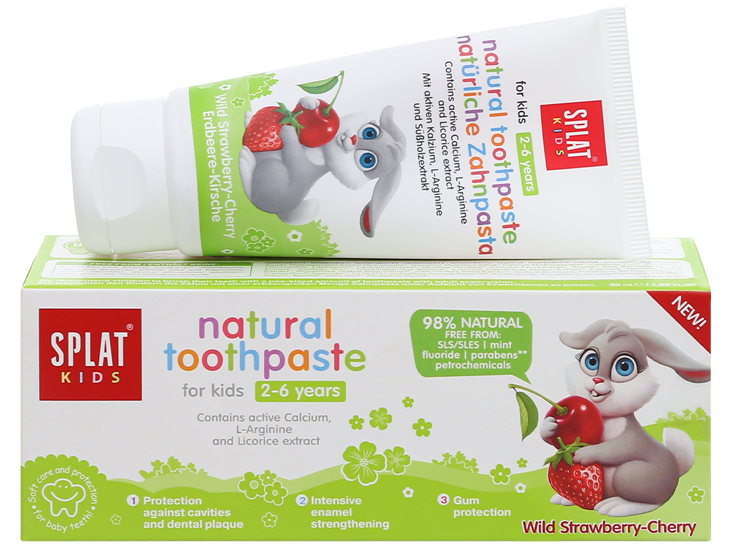 Kem đánh răng tự nhiên cho bé từ 2 - 6 tuổi Splat Kids hương dâu 50ml 1
