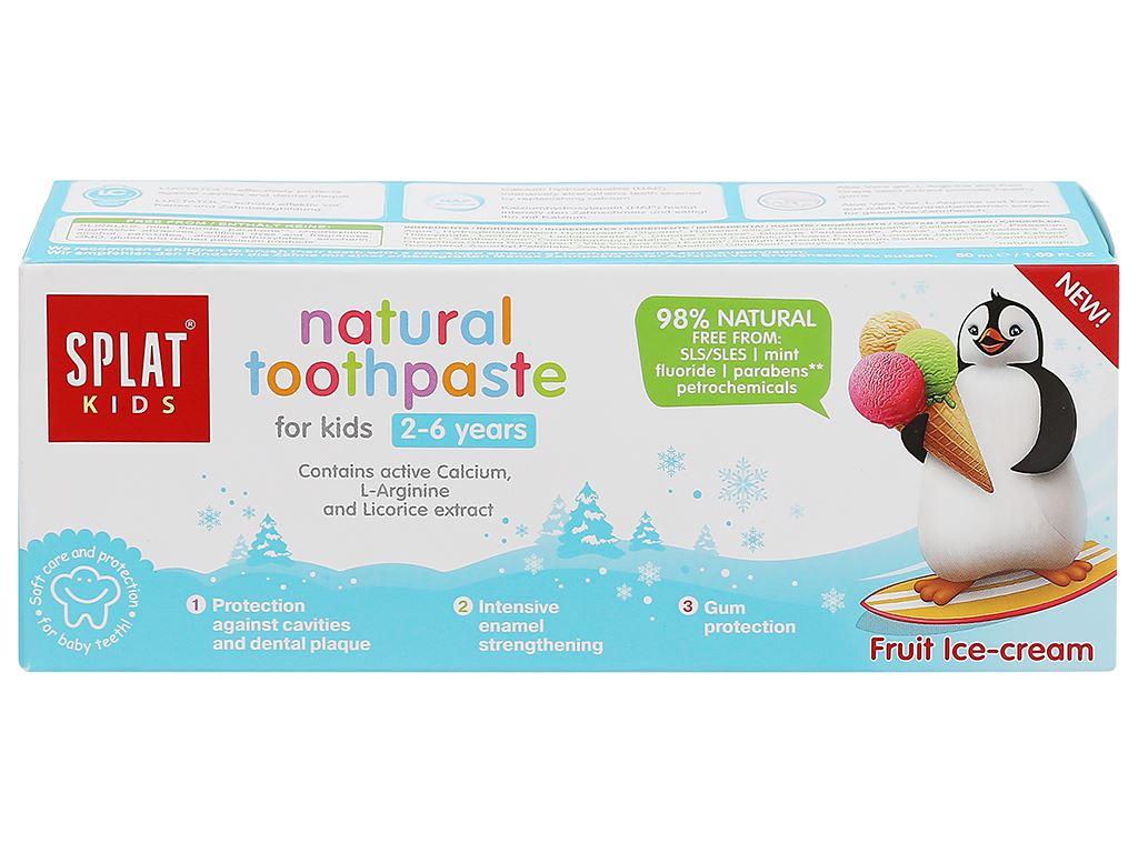 Kem đánh răng tự nhiên cho bé từ 2 - 6 tuổi Splat Kids hương kem trái cây 50ml 2