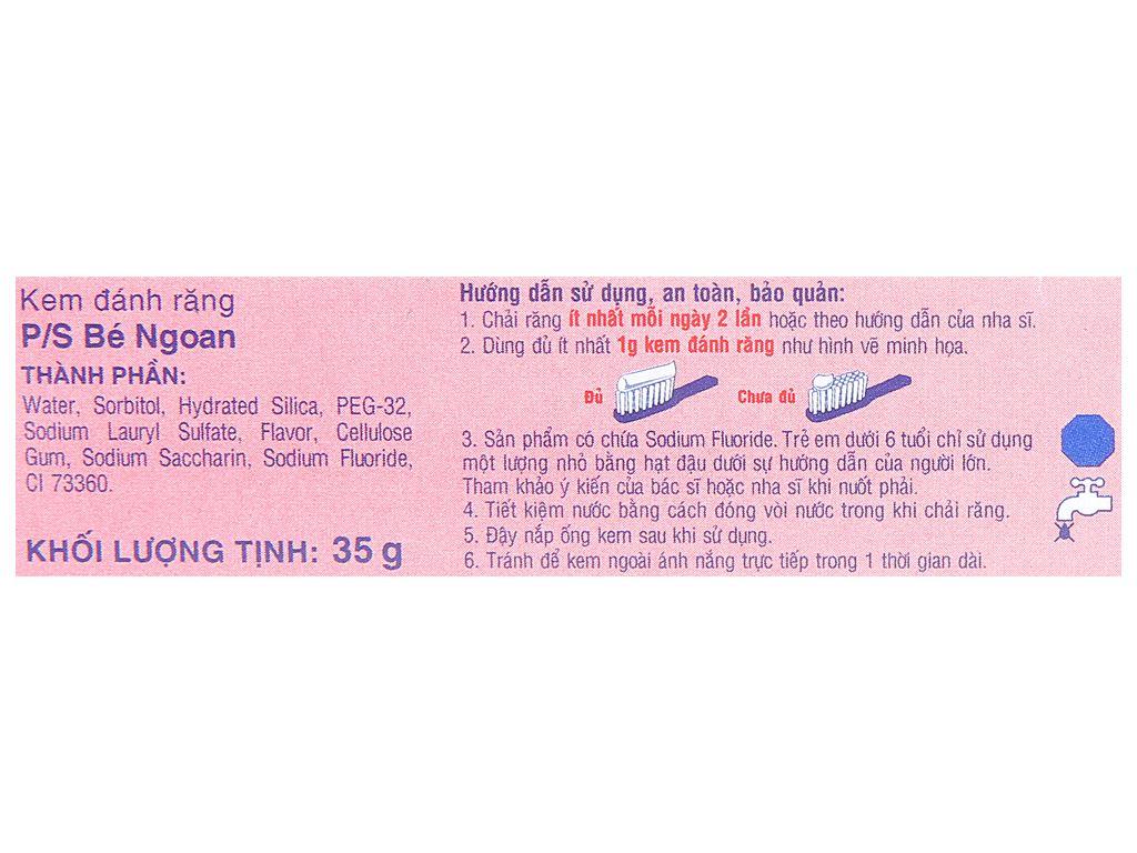 Kem đánh răng cho bé trên 2 tuổi P/S bé ngoan hương dâu 35g 15