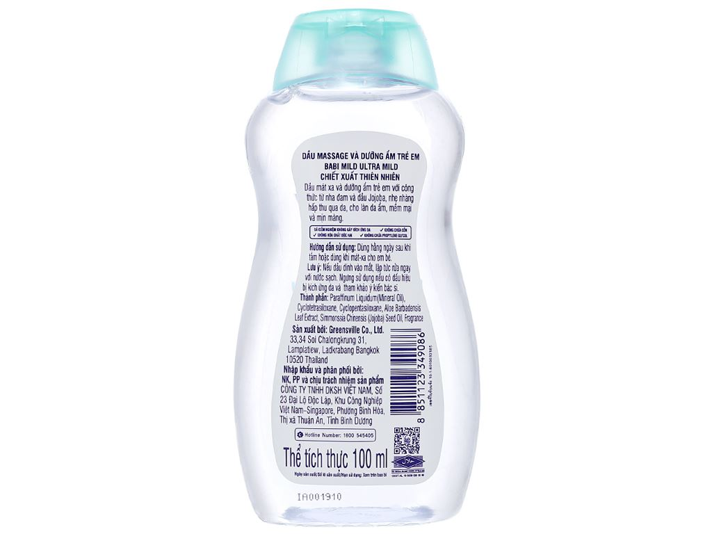 Dầu massage và dưỡng ẩm trẻ em Babi Mild Pure Natural 100ml 2