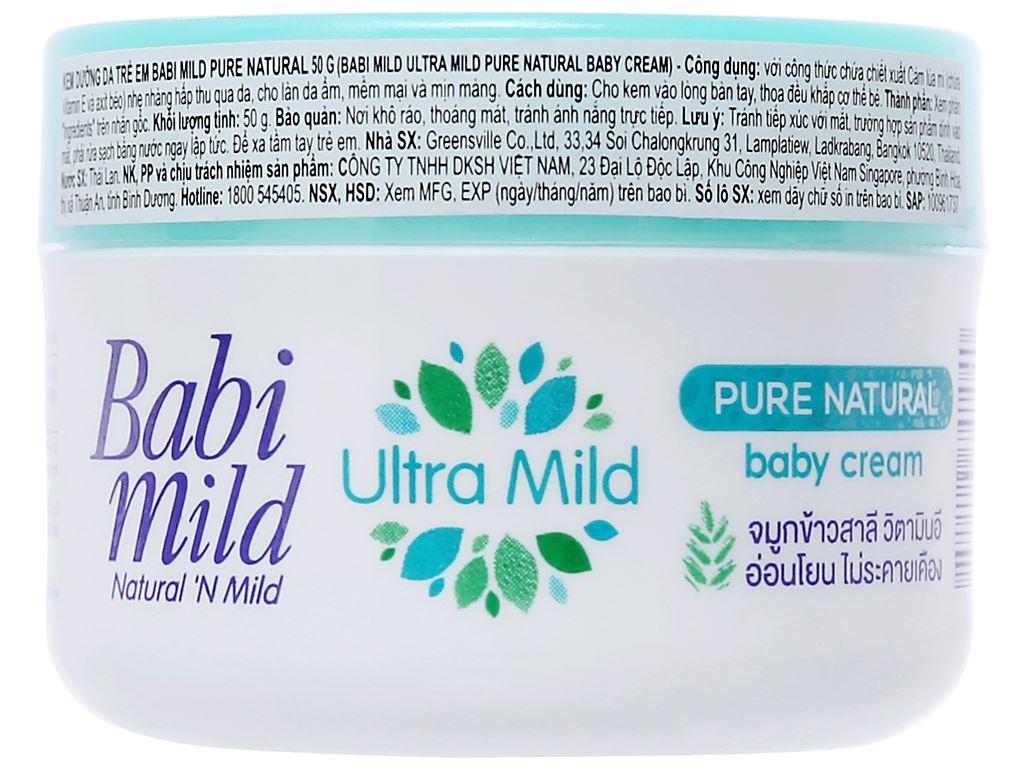 Kem dưỡng da trẻ em Babi Mild Pure Natural 50g 1