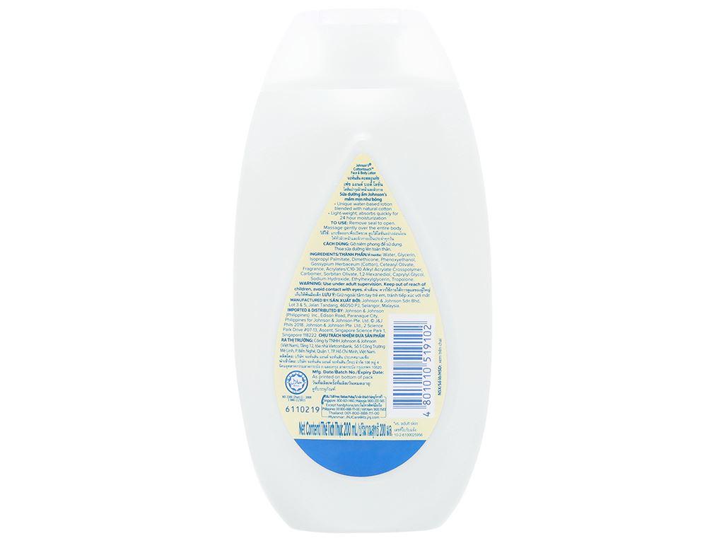 Sữa dưỡng ẩm cho bé Johnson's mềm mịn như bông 200ml 2