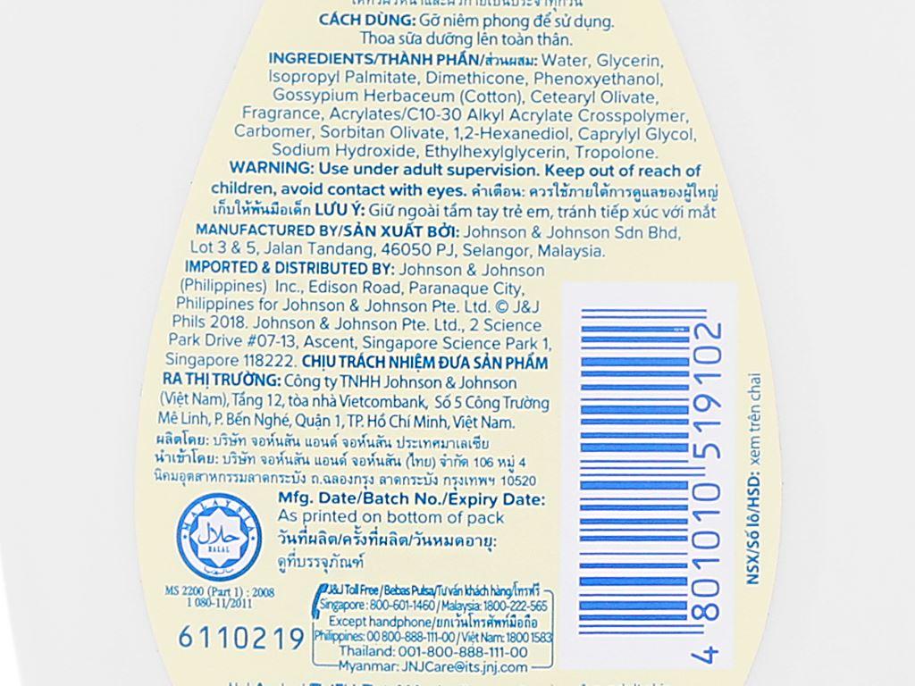 Sữa dưỡng ẩm cho bé Johnson's mềm mịn như bông 200ml 4