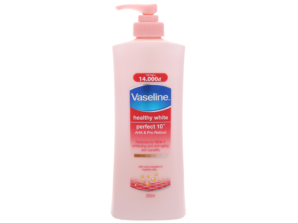 Sữa dưỡng thể trắng da Vaseline Healthy White Perfect 10 AHA & Pro-Retinol 350ml 2