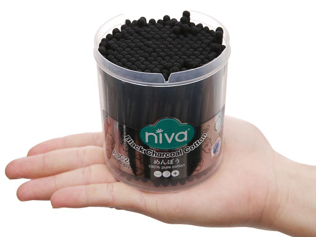 Bông ráy tai than hoạt tính thân giấy Niva đầu tròn và xoắn hộp 200 cây 4