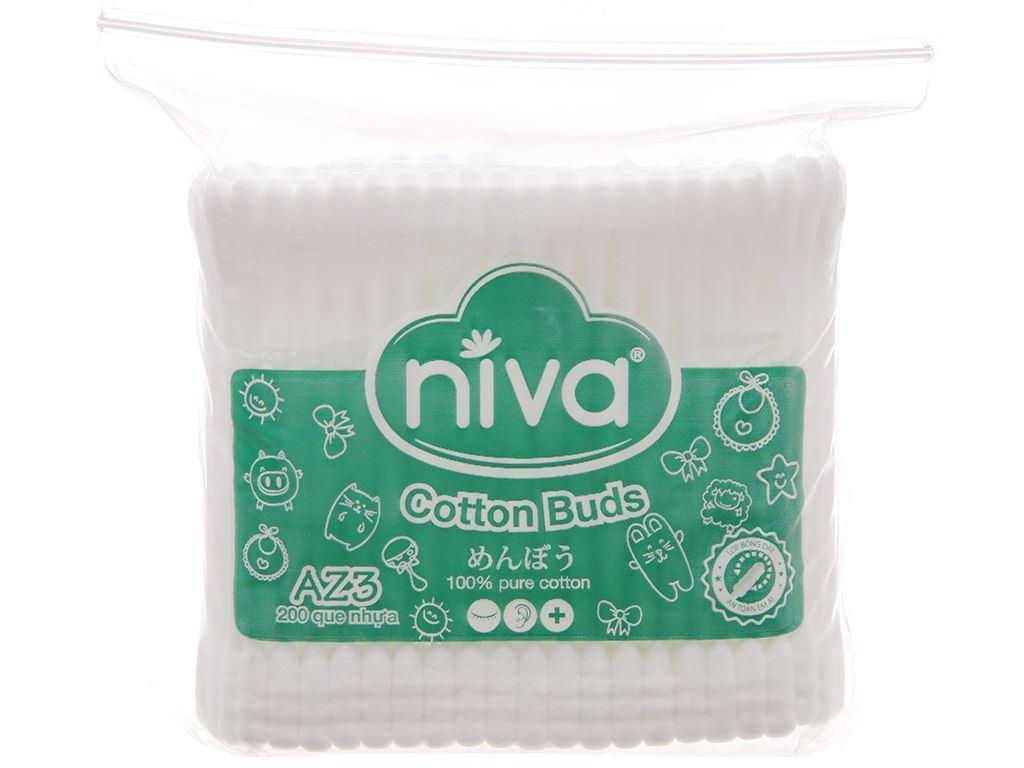 Bông ráy tai Niva đầu tròn và xoắn túi zip 200 cây 1