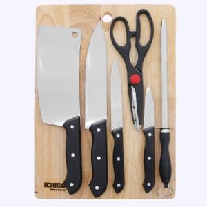 Bộ dao thớt thép không gỉ Ichigo SK-2245 đen 7 món