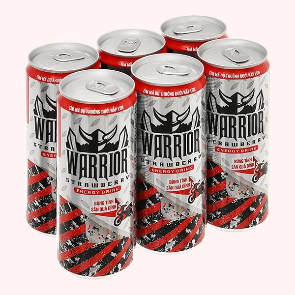 6 lon nước tăng lực Warrior hương dâu 325ml