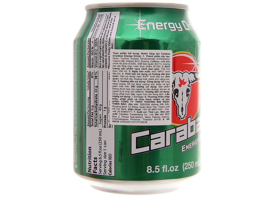 24 lon nước tăng lực Carabao 250ml 4