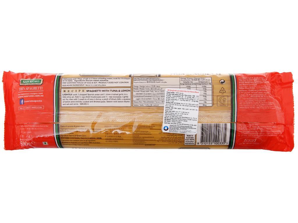 Mì spaghetti sợi mảnh số 4 San Remo gói 500g 3