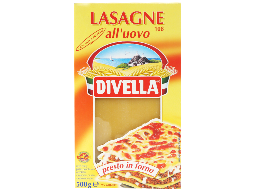 Mì lá có trứng Lasagne 108 Divella hộp 500g 2