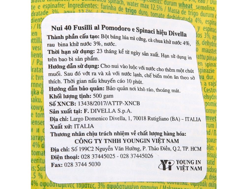 Nui rau củ dạng xoắn số 40 Fusilli Divella gói 500g 5