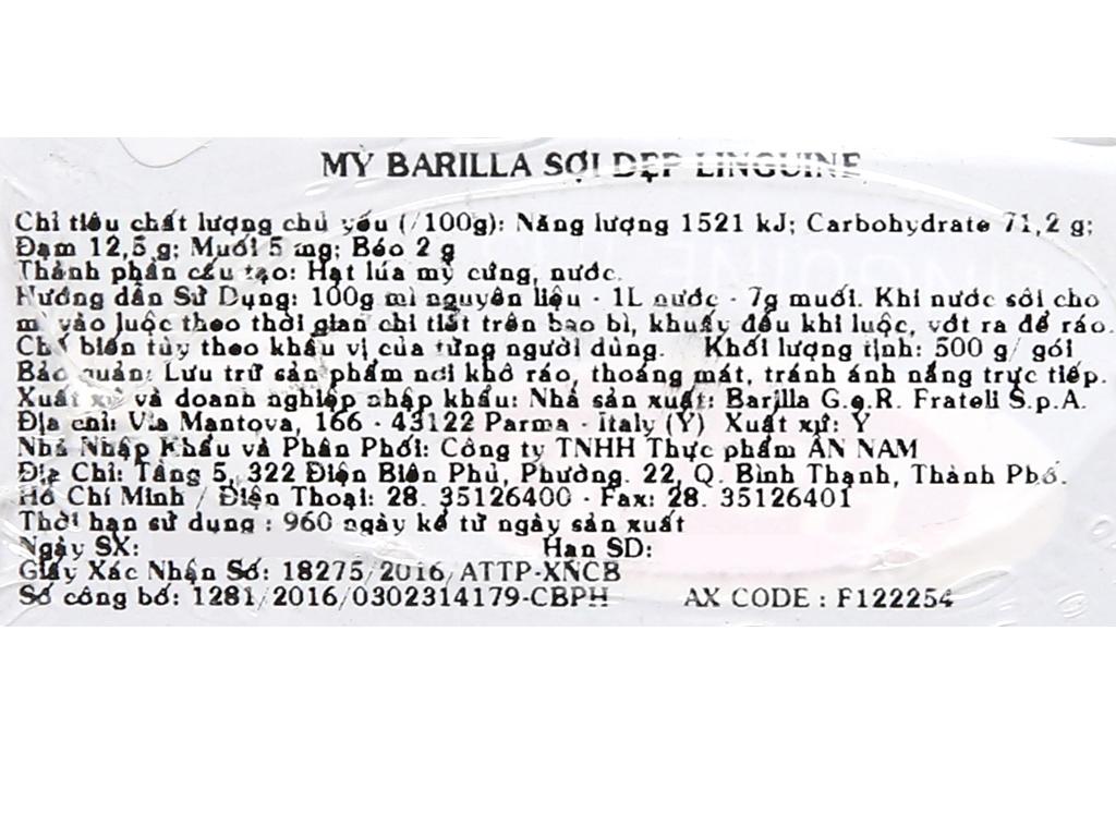Mì ý sợi dẹp Linguine Barilla hộp 500g 9