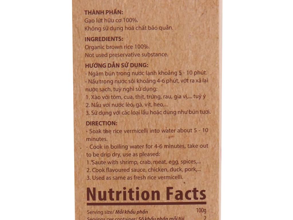 Bún gạo lứt hữu cơ Bích Chi hộp 200g 4