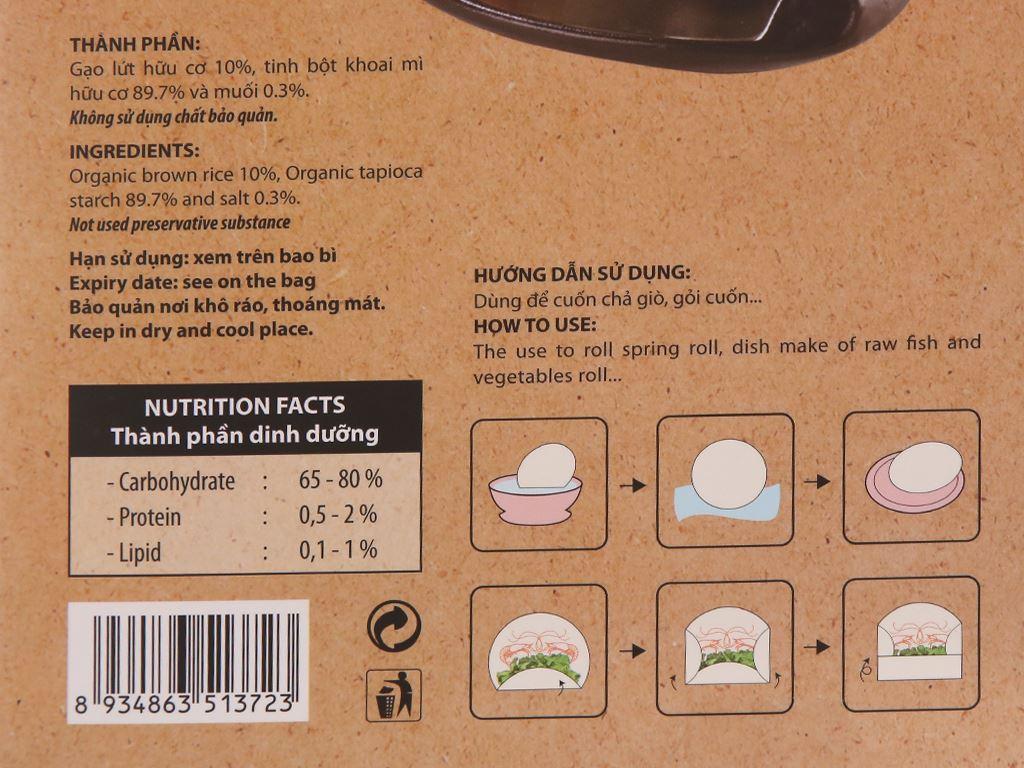 Bánh tráng gạo lứt hữu cơ 22cm Bích Chi hộp 200g 6