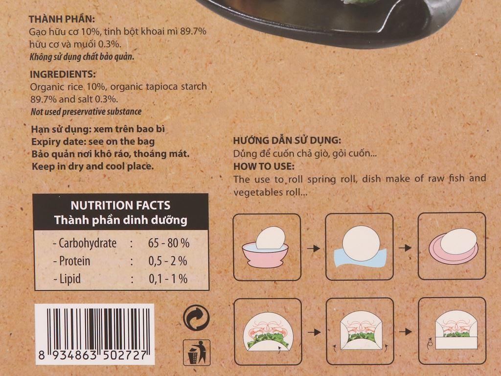 Bánh tráng hữu cơ 22cm Bích Chi hộp 200g 4