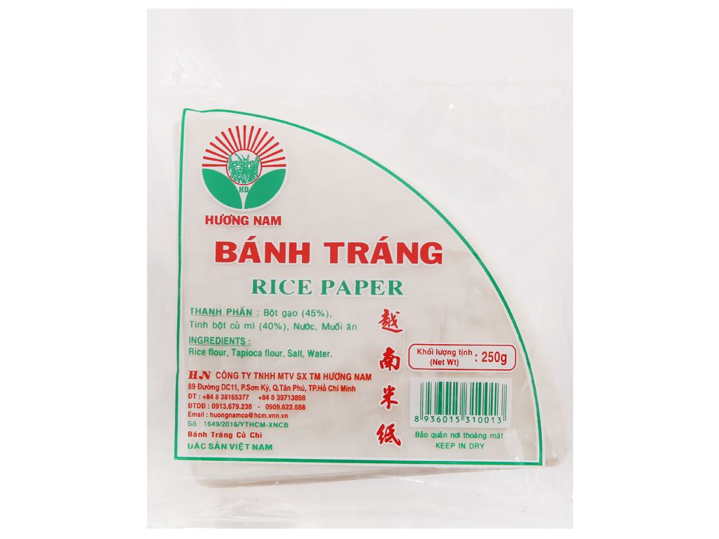 Bánh tráng góc tư Hương Nam gói 250g 2