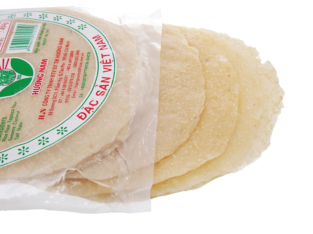 Bánh đa mè trắng dừa 20cm Hương Nam gói 454g 3