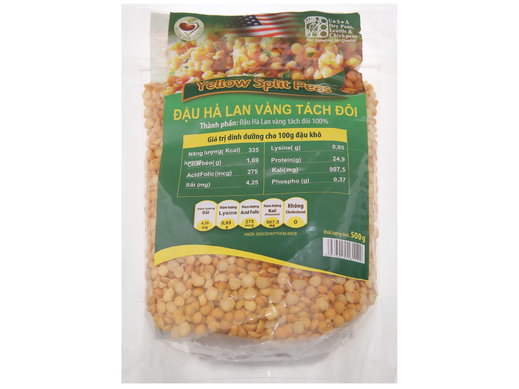 Đậu Hà Lan vàng tách đôi TMT Foods gói 500g 1