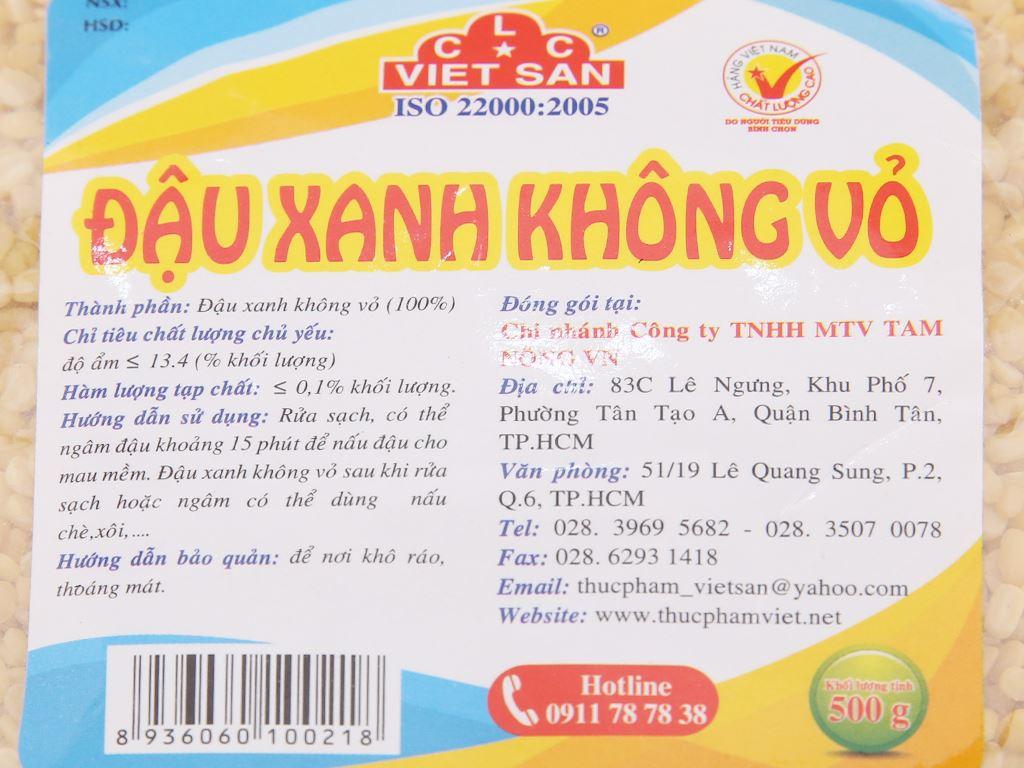 Đậu xanh không vỏ Việt San gói 500g 4