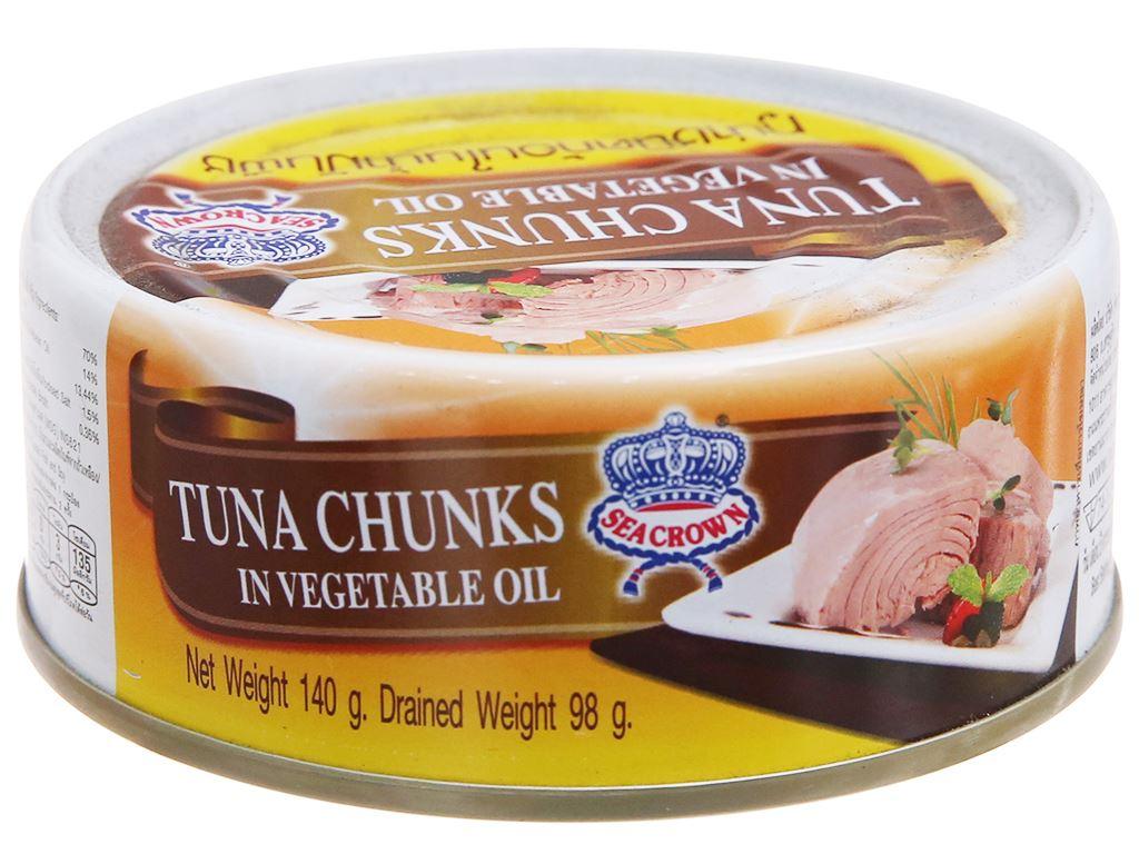 Cá ngừ ngâm dầu xắt khúc Sea Crown hộp 140g 1
