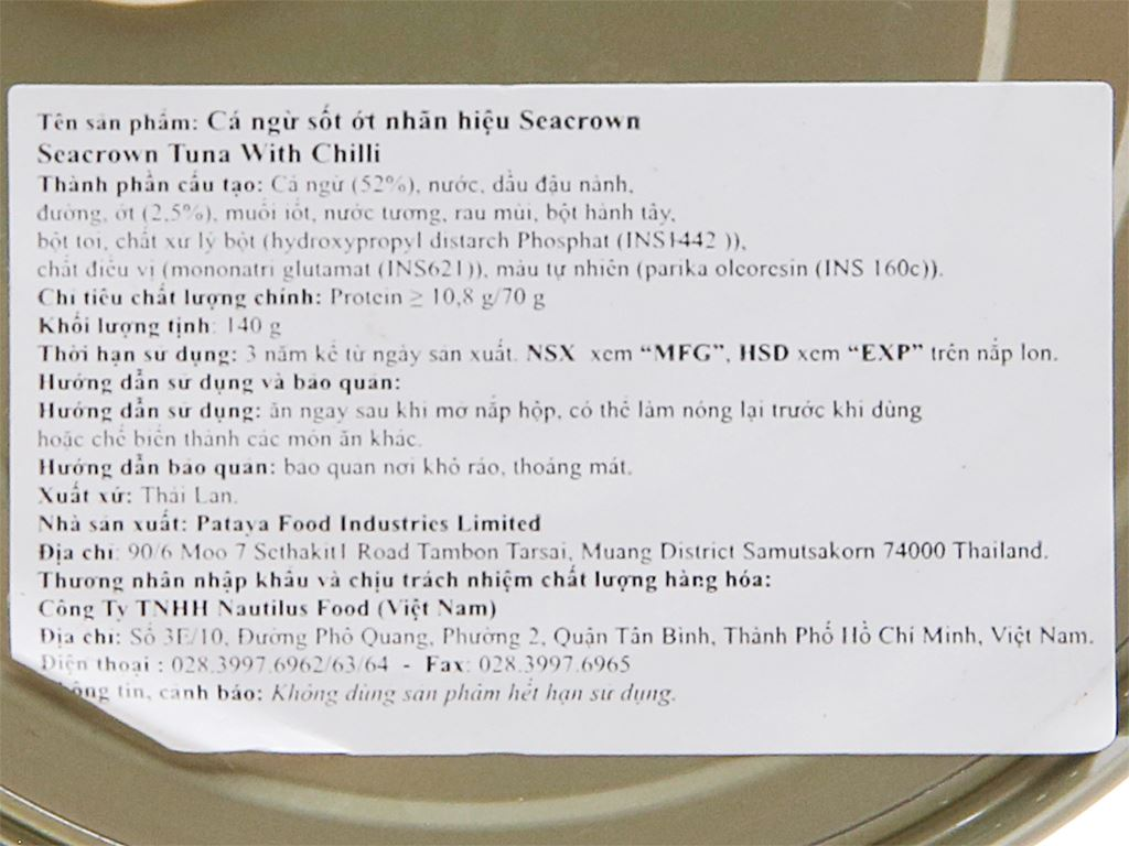 Cá ngừ sốt ớt Sea Crown hộp 140g 2