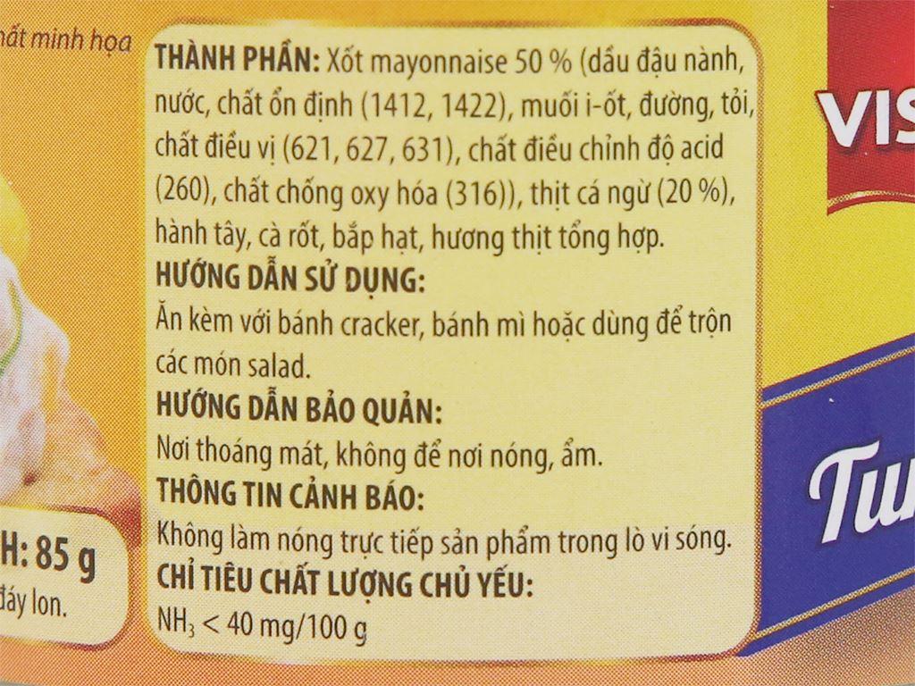 Cá ngừ xốt mayonnaise Vissan hộp 85g 3