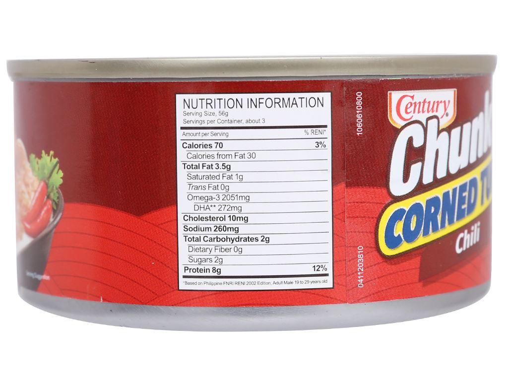 Cá ngừ khúc xốt gia vị cay Chunky Century hộp 180g 4