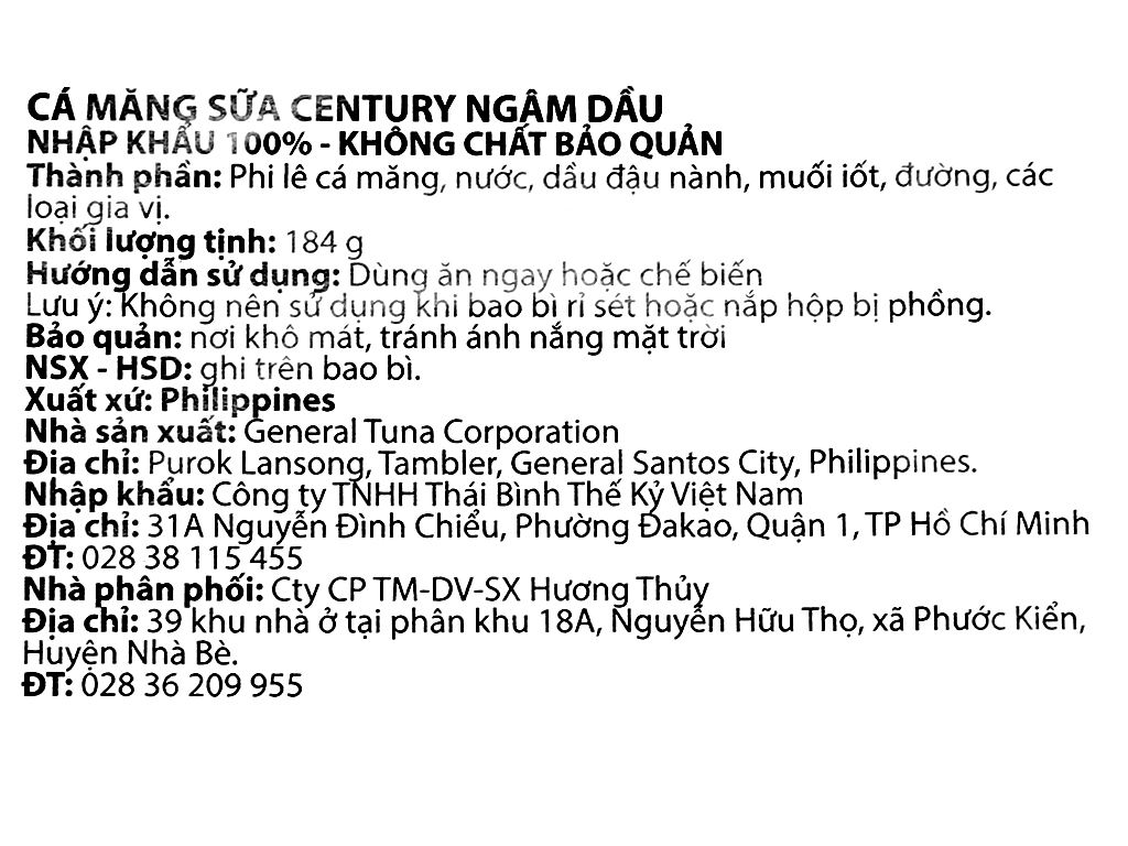 Cá măng sữa ngâm dầu Bangus Century hộp 184g 6