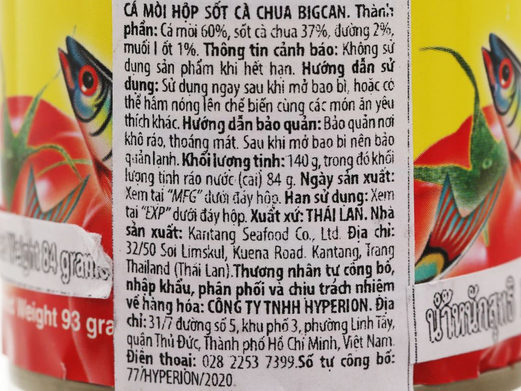 Cá mòi sốt cà chua Bigcan lon 155g 4