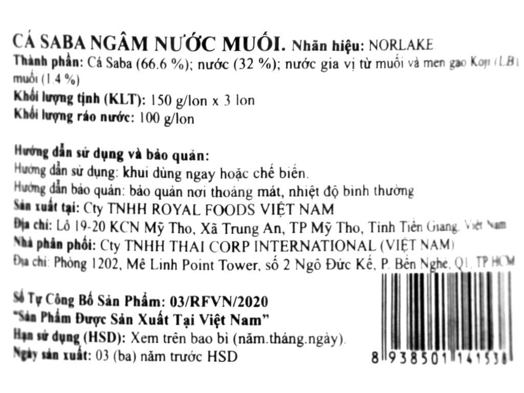 Lốc 3 hộp Cá saba ngâm nước muối Norlake 150g 5