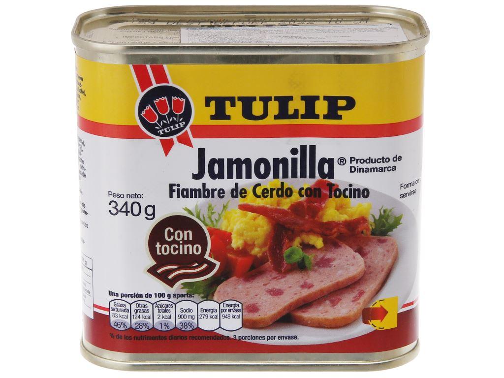 Thịt heo Pork Luncheon Meat với thịt xông khói Tulip hộp 340g 1