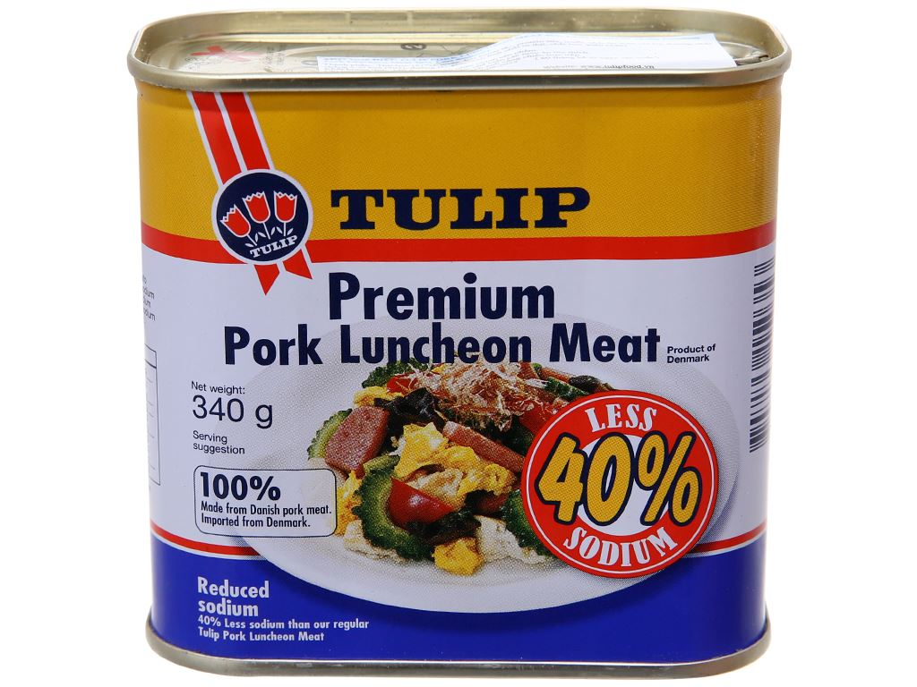 Thịt heo Pork Luncheon Meat ít muối Tulip hộp 340g 2