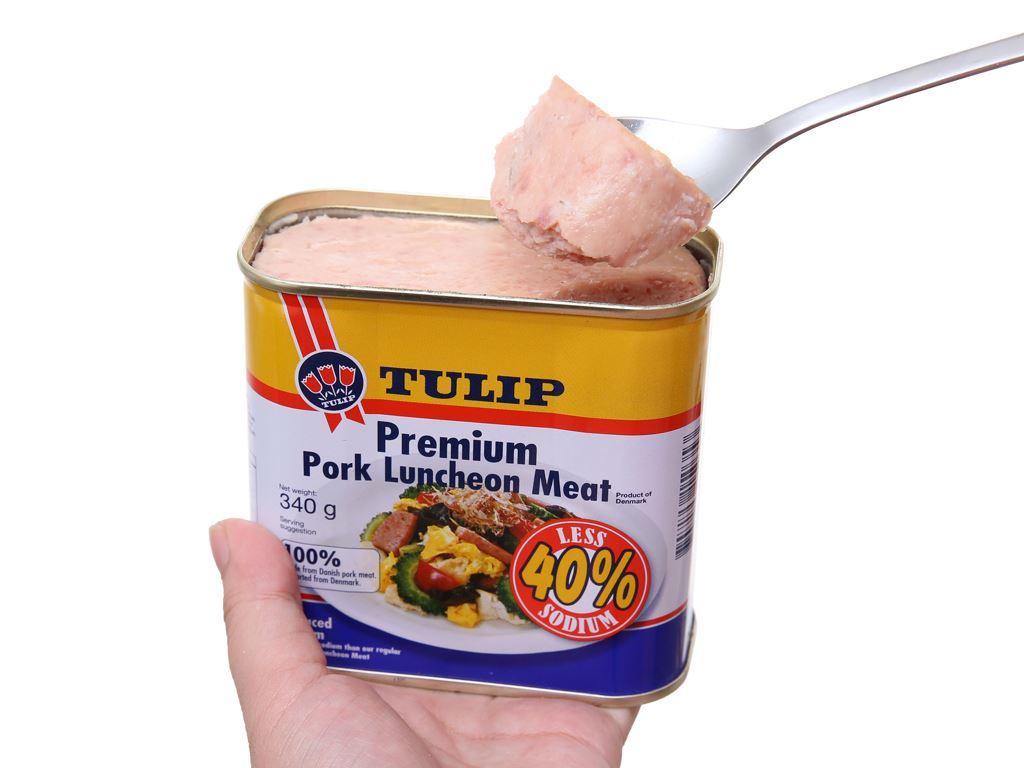 Thịt heo Pork Luncheon Meat ít muối Tulip hộp 340g 5