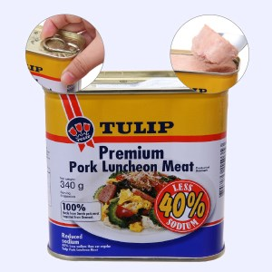 Thịt heo Pork Luncheon Meat ít muối Tulip hộp 340g