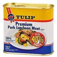 Thịt heo hộp Tulip Pork Luncheon Meat 40% Less Sodium 340g