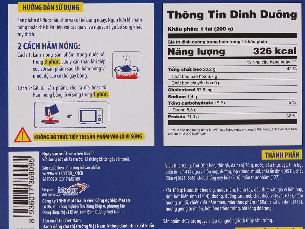 Thịt heo viên 3 phút Heo Cao Bồi Masan hộp 200g 4
